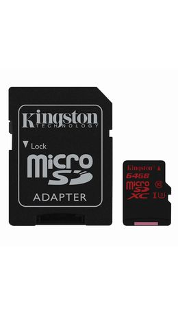 Карта памяти micro SDXC, 64 GB, KINGSTON, UHS-I U3, 90 Мб/сек. (class 10), с адаптером, SDCA3/64GB
