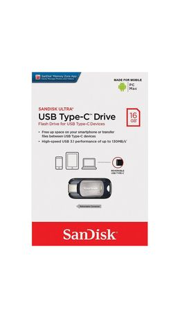 Флэш-диск 16 GB, SANDISK Ultra, USB 3.0 Type-C, черный, Z450-016G-G46