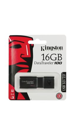 Флэш-диск 16 GB, KINGSTON DataTraveler 100 G3, USB 3.0, черный, DT100G3/16GB