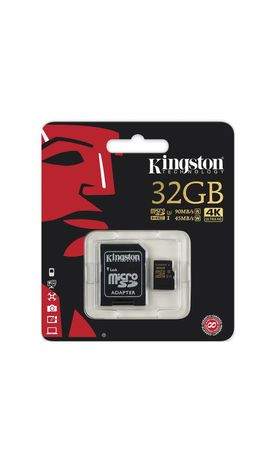 Карта памяти micro SDHC, 32 GB, KINGSTON Gold, UHS-I U3, 90 Мб/сек. (class 10), с адаптером, SDCG/32GB