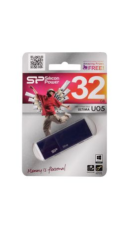 Флэш-диск 32 GB SILICON POWER Ultima U05 USB 2.0, синий, SP32GBUF2U05V1D