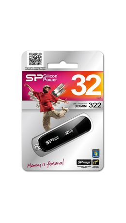 Флэш-диск 32 GB SILICON POWER LuxMini 322 USB 2.0, черный, SP32GBUF2322V1K